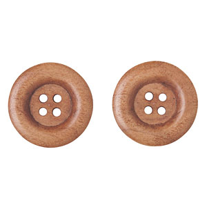 Coffee Wood Buttons, 23mm