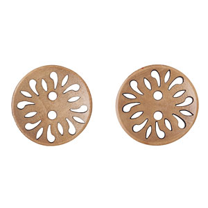 Flower Etched Wood Buttons, 23mm
