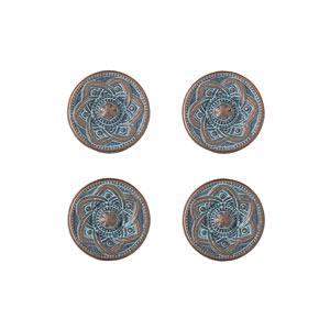 Copper Patina Distressed Button, 15mm
