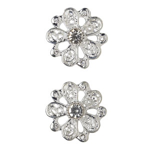 Silver Rhinestone Floral Bling Buttons, 21mm