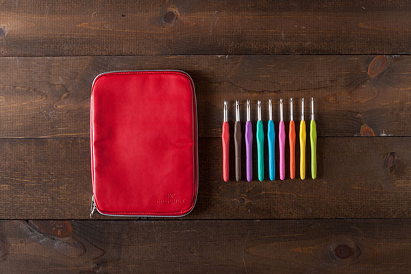 Knit Picks Crochet Hooks and Case - Red