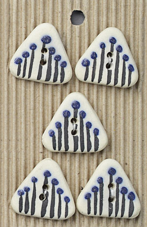 Handmade Triangle Flowers Stoneware Buttons