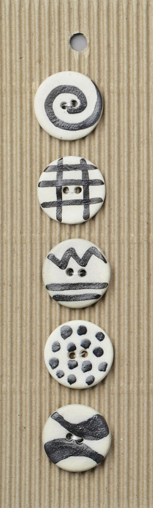 Handmade Abstract Circle Stoneware Buttons