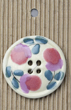 Handmade Pink Flowers Stoneware Button