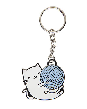Kitty Yarn Ball Enamel Key Chain