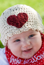 Sweet-Heart Crochet Infant Hat Pattern