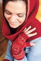 Lunaria Hooded Scarf & Mitts Set Pattern