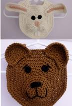Forest Friends Crochet Bibs-Bear and Bunny Pattern