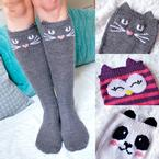 Check Meowt! Knee High Socks Pattern