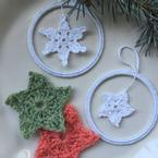 Snowflakes & Stars Applique and Bangle Ornaments Pattern