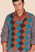 Finale Argyle Crocheted Pullover Pattern Pattern