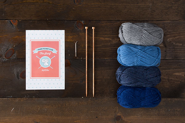 Learn to Knit Club: The Scarf Kit - Blue