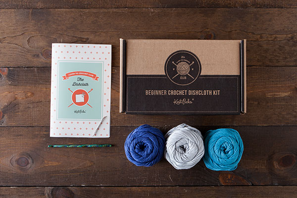 Learn to Crochet Club: The Dishcloth Kit - Blue