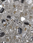 5/0 Triangle Seed Beads - Clear w/Silver Lining