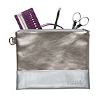 Knit Picks Colorblock Zippered Pouch - Champagne & Silver