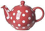 Globe Teapot - Red w/White Spots