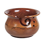 Dark Brown Mango Wood Yarn Bowl with Swirl and Holes