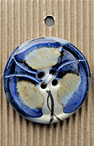 Handmade Large Blue Abstract Flower Stoneware Button