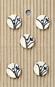 5 Black and White Flower Stem Handmande Stone Buttons