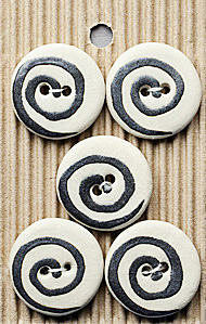 5 Black and White Swirl Handmande Stone Buttons