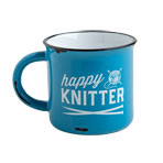 Happy Knitter Camping Mug - Blue